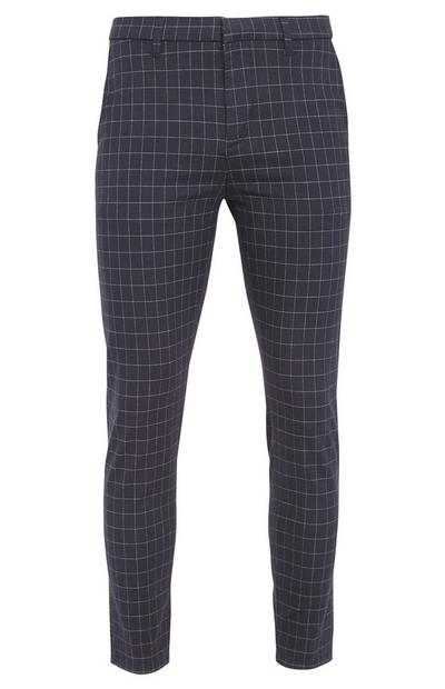 Navy Window Pane Pattern Slim Fit Trousers