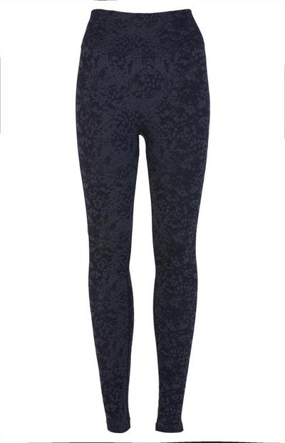 Black Jacquard Sports Leggings