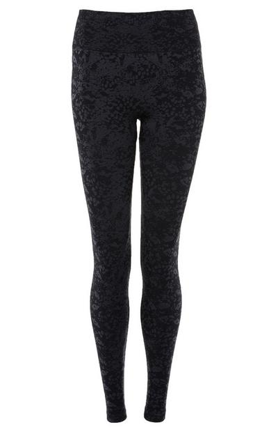 Leggings jacquard negros