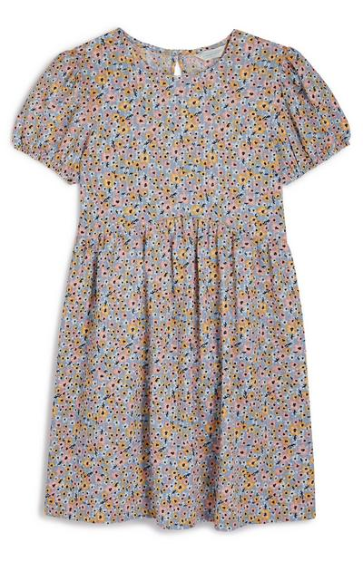 Older Girl Floral Puff Sleeve Dress