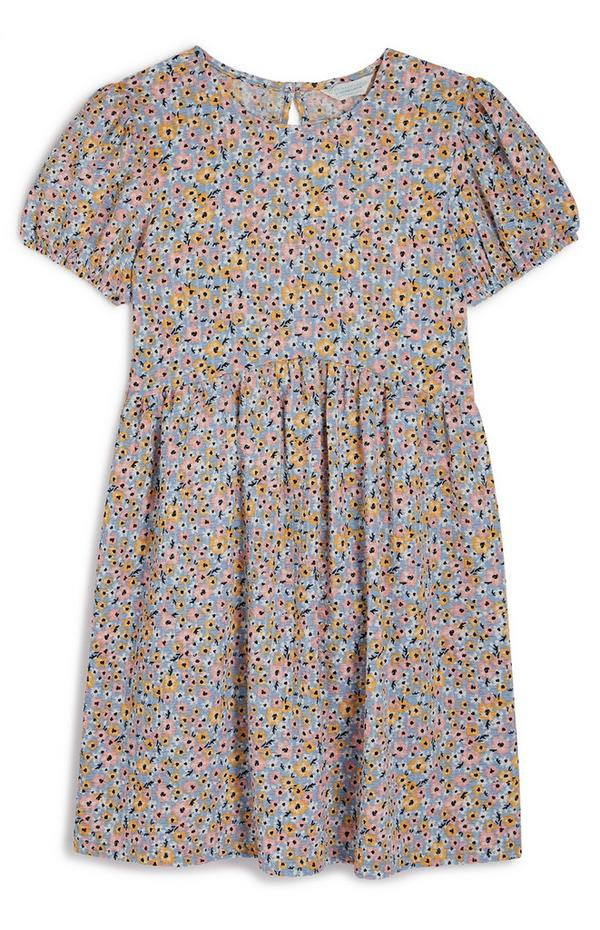 Older Girl Floral Puff Sleeve Dress