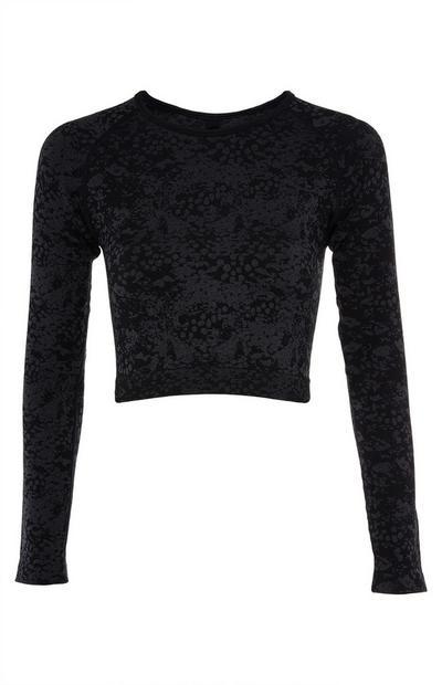 T-shirt court noir en jacquard à manches longues