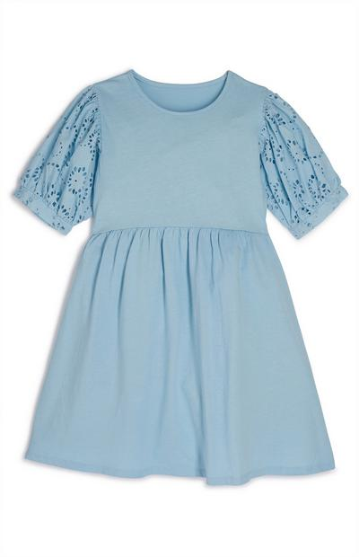 Older Girl Blue Pleated Sleeve Broderie Dress