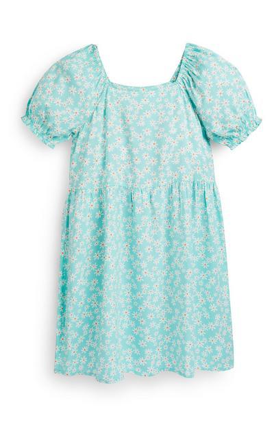 Mintgrünes Kleid mit gewebten Puffärmeln (Teeny Girls)