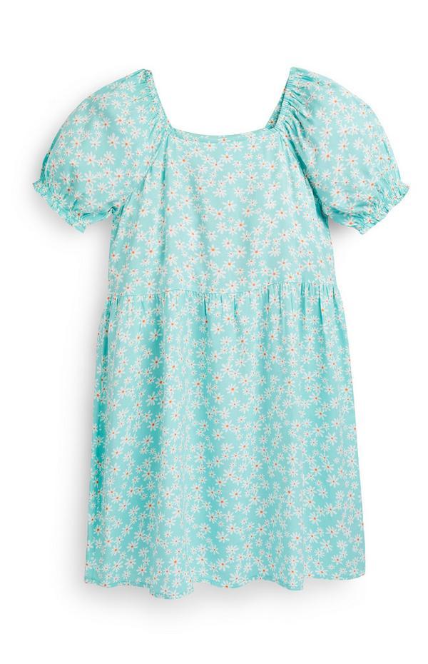 Mintgroene geweven jurk met pofmouwen voor oudere meisjes