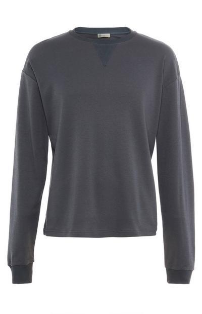 Suéter de cuello redondo de algodón orgánico gris