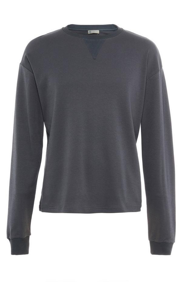 Siv navadni pulover z okroglim ovratnikom