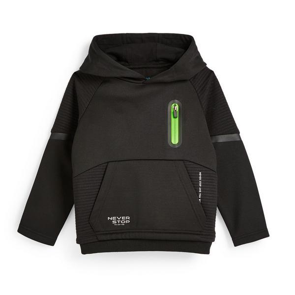 Sweat à capuche de sport noir en tissu ottoman avec col large garçon