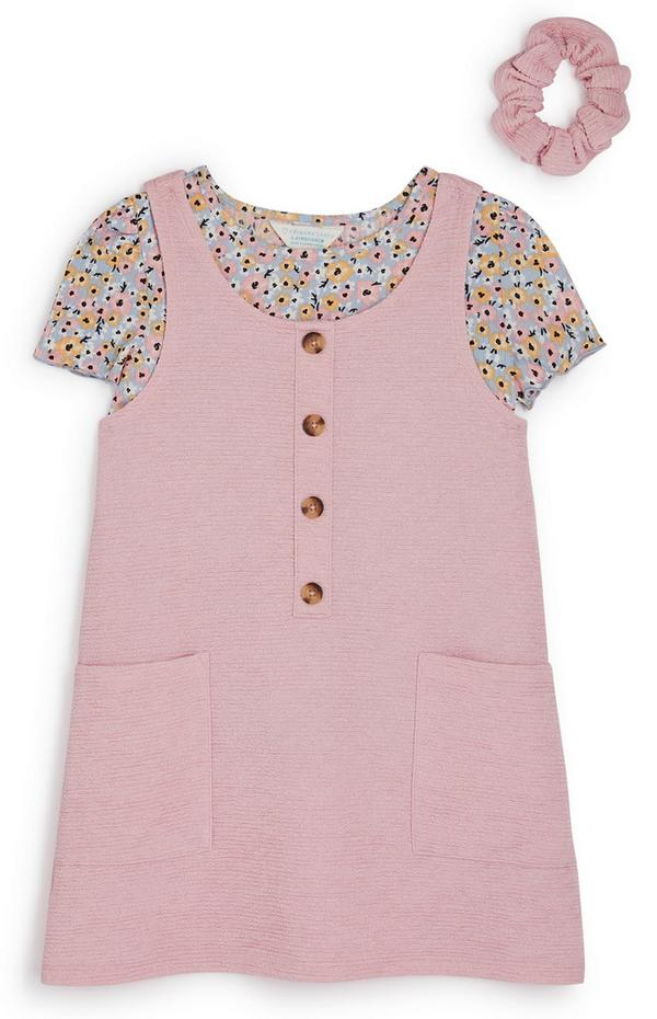 Younger Girl 2-In-1 Pink Floral Textured Pinafore Dress