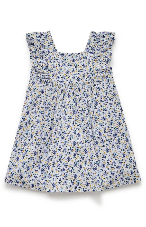 Gewebtes, marineblaues Kleid mit Rüschen und Blumenmuster (kleine Mädchen)