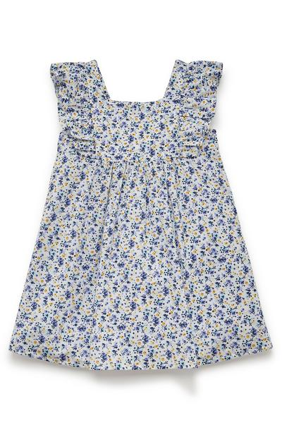 Younger Girl Navy Floral Woven Frill Dress
