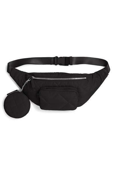 Black Nylon Quilted Fanny Pack
