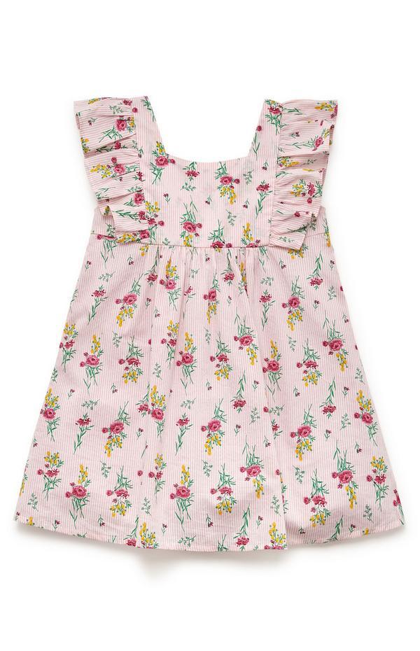 Gewebtes, rosafarbenes Kleid mit Rüschen (kleine Mädchen)