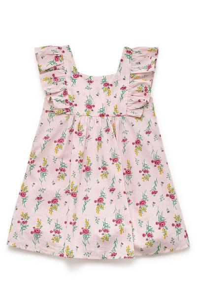 Younger Girl Pink Print Woven Frill Dress