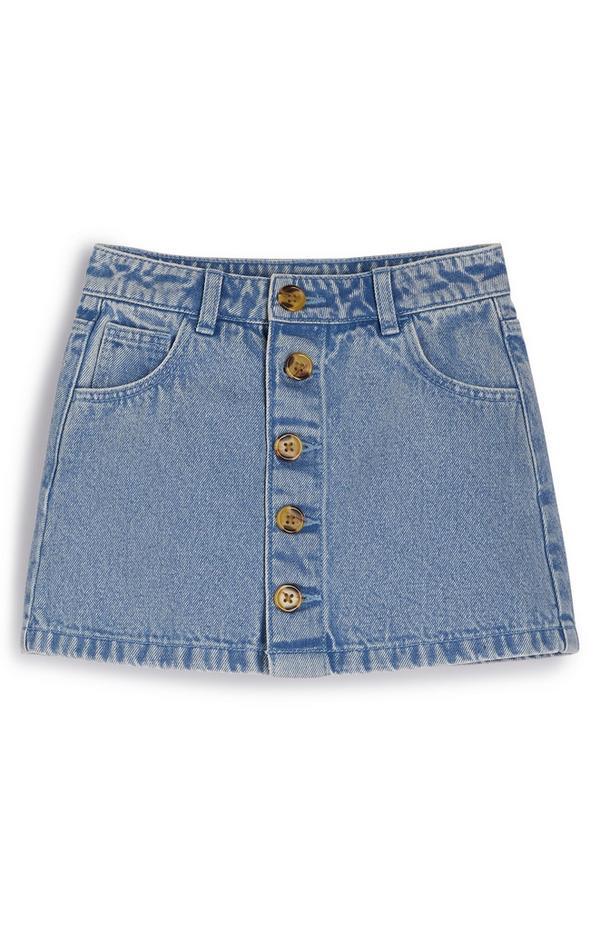 Younger Girl Blue Button Detail Denim Skirt