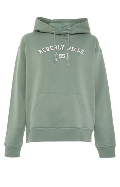 Green Beverly Hills Print Pull Over Hoodie