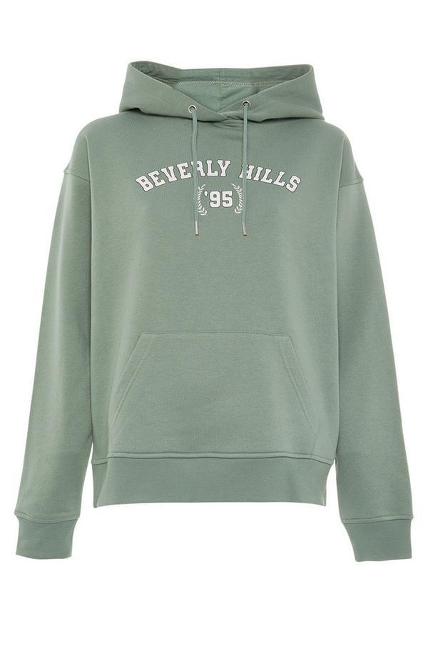 Sweat à capuche vert à enfiler avec imprimé Beverly Hills