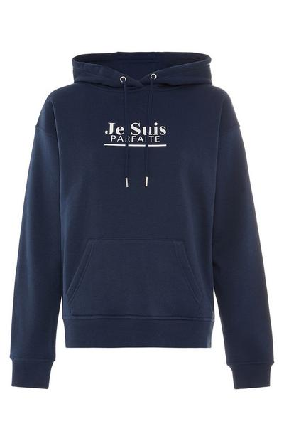 Navy French Print Hoodie