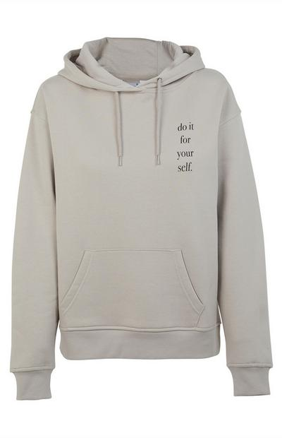 Grey Do It For Yourself Print Hoodie