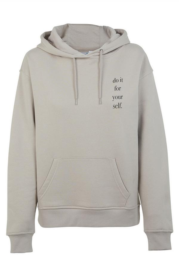 Gray Do It For Yourself Print Hoodie
