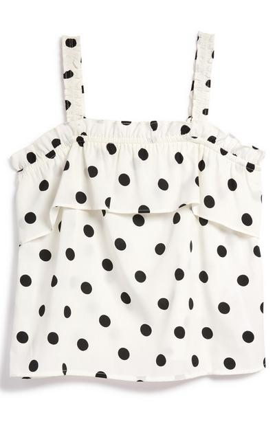 Older Girl White Polka Dot Sleeveless Ruffle Blouse