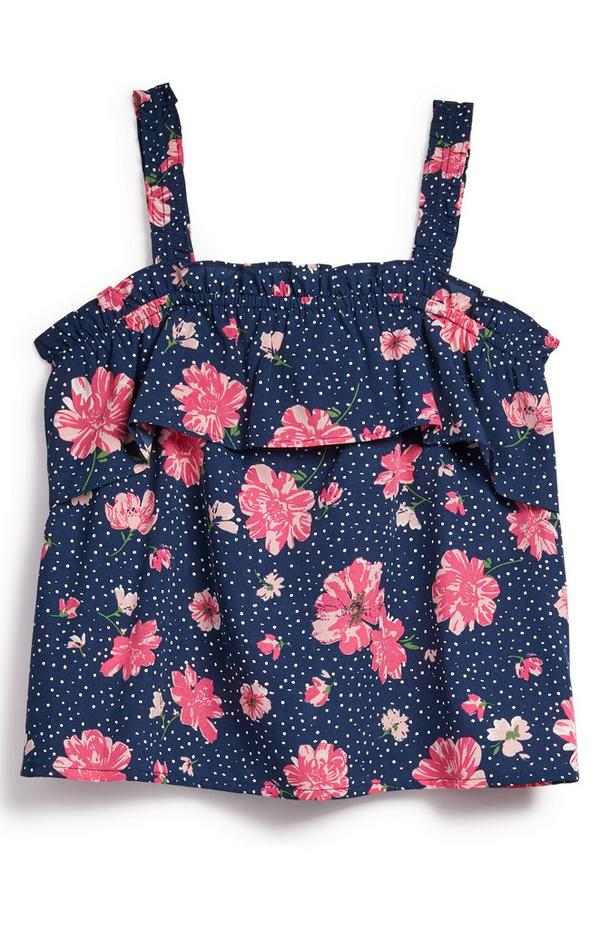 Older Girl Navy Floral Sleeveless Ruffle Blouse