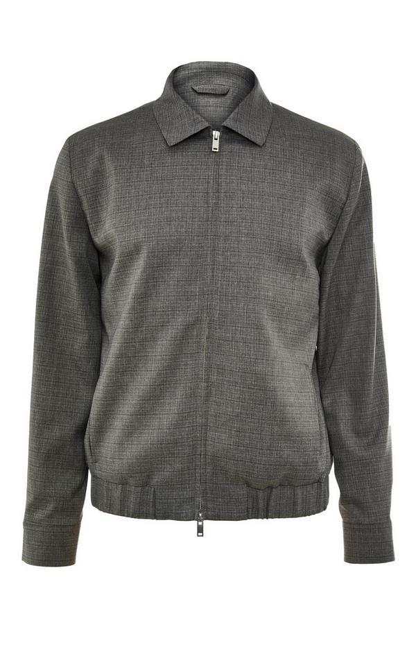 Premium Grey Collar Bomber Jacket