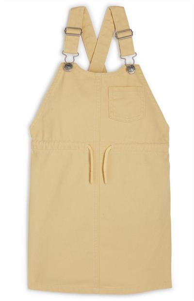 Younger Girl Yellow Twill Halo Pinafore Dress