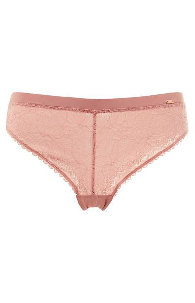 Blush Pink Lace Brazilian Briefs