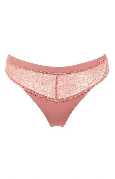 Blush Pink Lace Thong Underwear