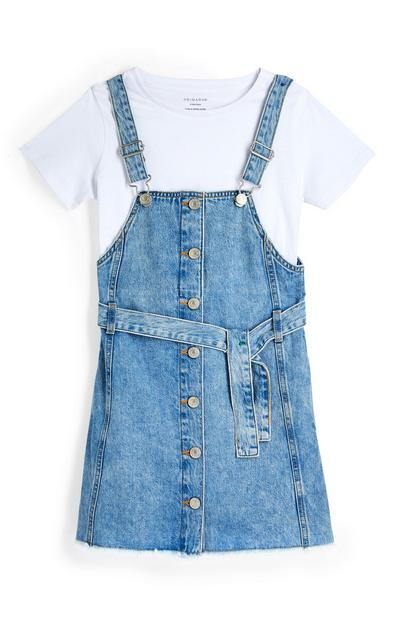 Older Girl 2-In-1 Denim Pinafore Dress Set