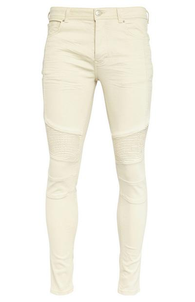 Ecru Emroidered Panel Skinny Jeans