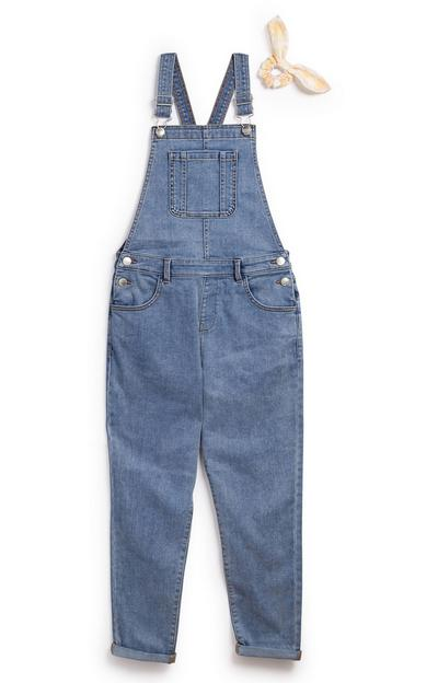 Older Girl Denim Dungarees With Scrunchie Set