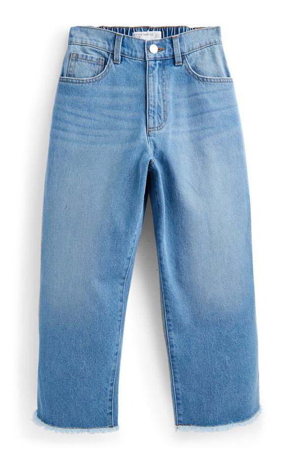 Jeans blu effetto alone in denim a gamba larga da ragazza