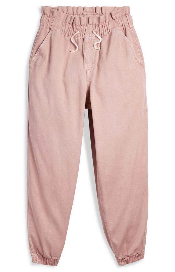 Rožnate halo hlače za prosti čas iz kepra za starejša dekleta