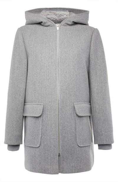 Grey Borg Hooded Duffle Coat
