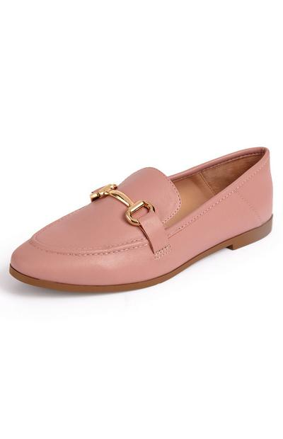 Pink Faux Leather Dressy Loafers