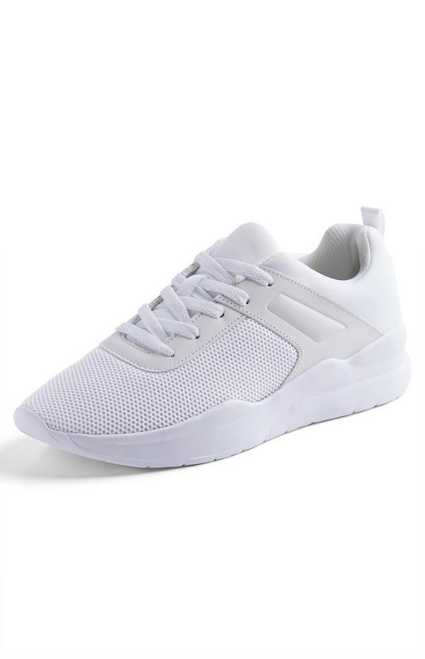 Witte sneakers met reliëfprint