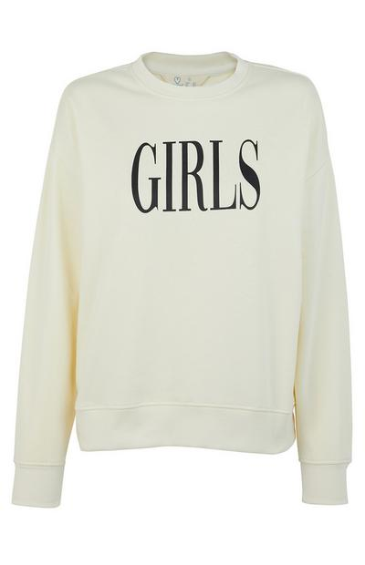 Sudadera color crudo con estampado «Girls»