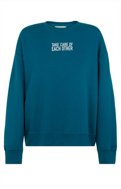 Sweat-shirt bleu sarcelle à imprimé Take Care Of Each Other