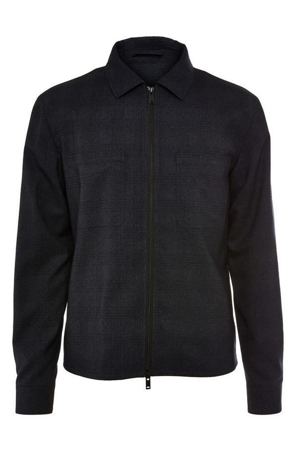 Anthrazitfarbene, karierte Premium-Jacke mit Kragen