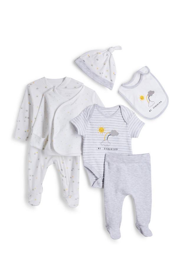 Weißes 6-teiliges Outfit in Bio-Qualität für Neugeborene