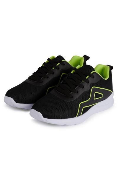 Older Boy Black And Green Value Phylon Sole Trainers