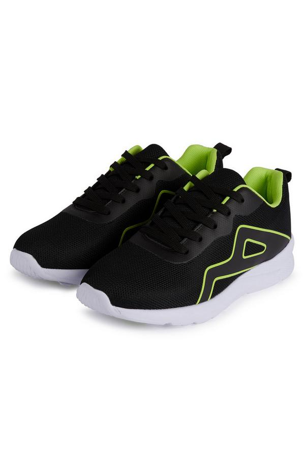 Older Boy Black And Green Phylon Sole Sneakers