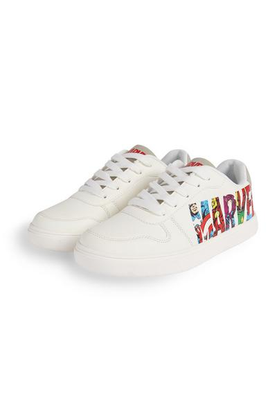 Older Boy White Marvel Lowtop Trainers