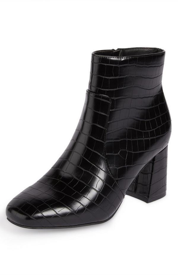 Black Faux Snakeskin Block Heel Ankle Boots
