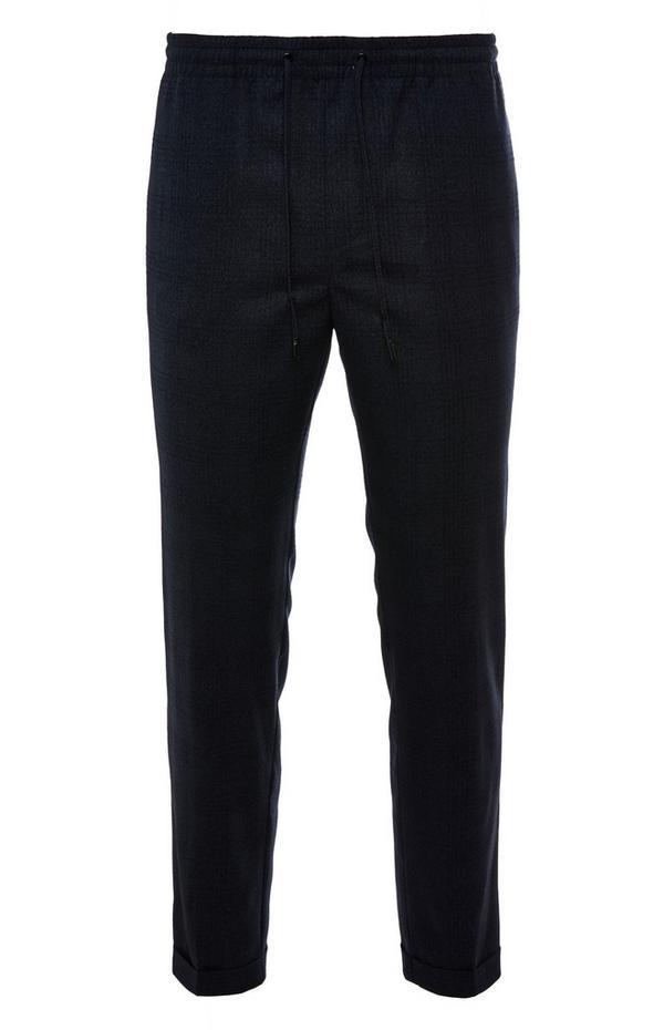 Pantaloni neri premium a quadri tono su tono