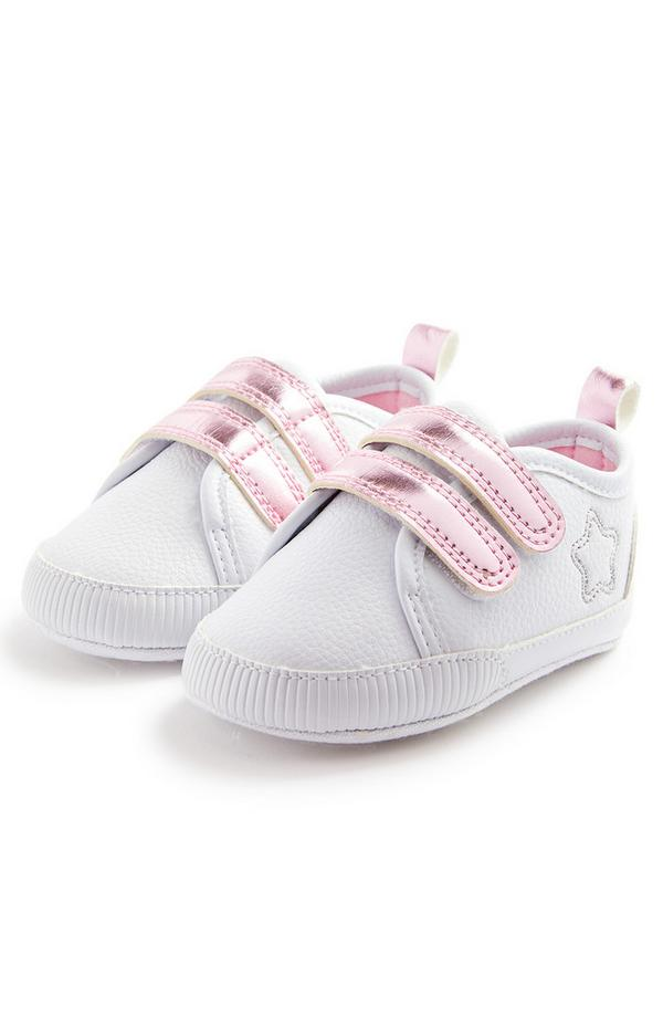 Baby Girl White Star Faux Pu Leather Lowtop Trainers