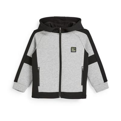 Younger Boy Active Grey And Black Mesh Panel Zip Up Hoodie