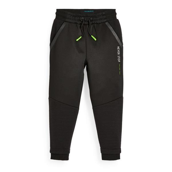 Pantalon de jogging de sport noir en tissu ottoman garçon